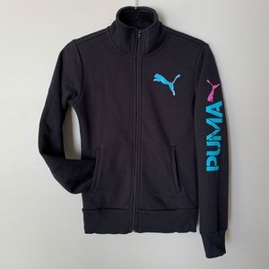 2/$50 Puma black zip up sweater blue arm lettering
